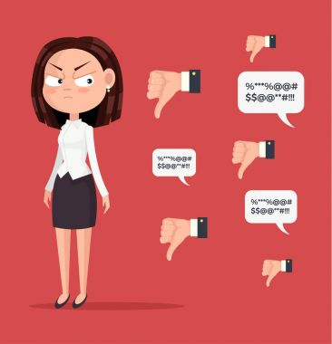 Sad unhappy unsuccessful business woman office worker character mascot. Negative feedback dislike. Bad comments. Vector flat cartoon illustration