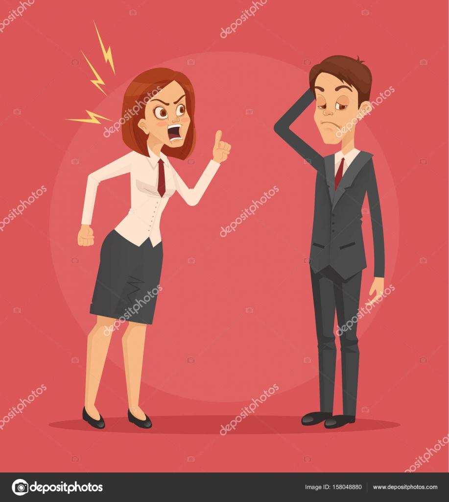 Carácter De Jefe Mujer Enojado Gritando A Oficinista De