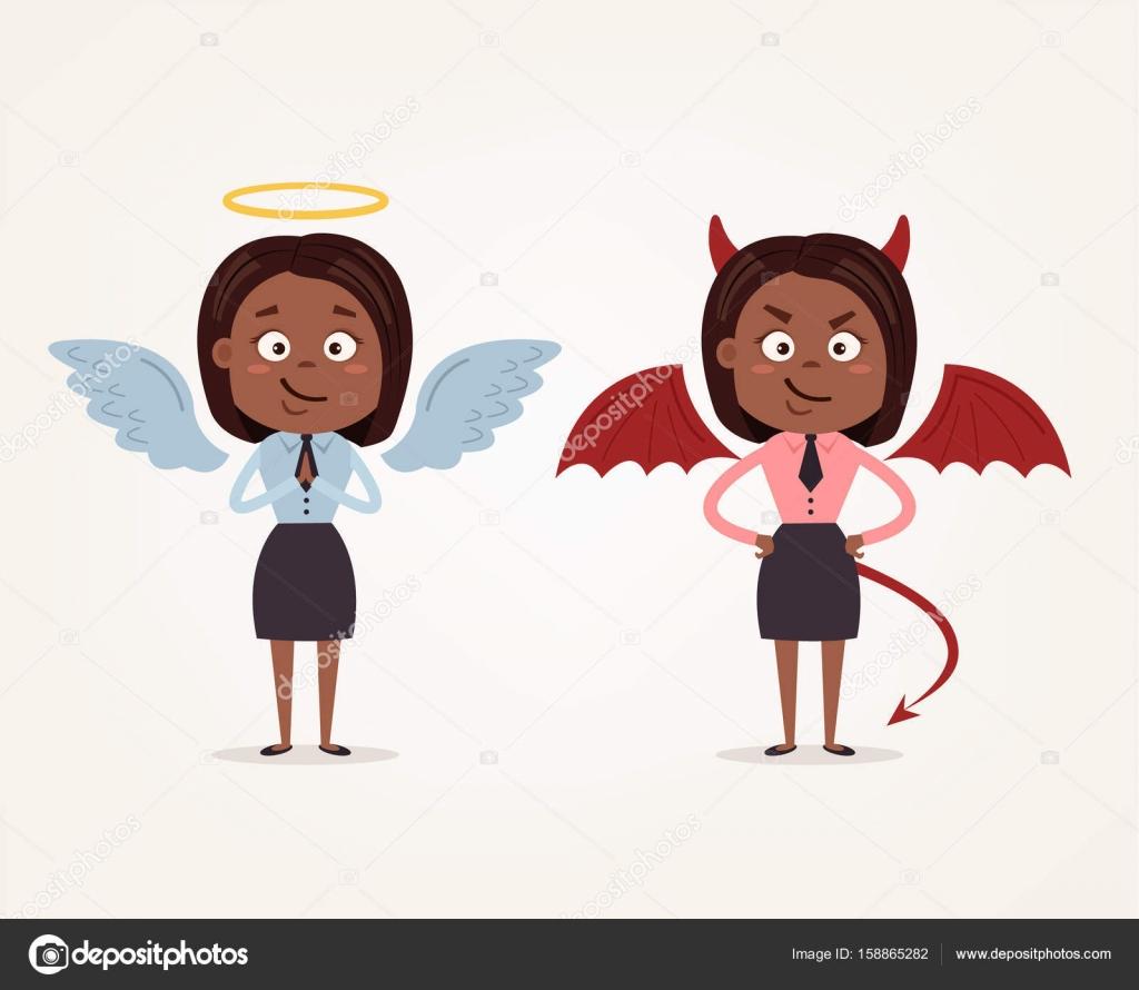 天使と悪魔アフリカ系アメリカ人ビジネス女性オフィス労働者の文字良く