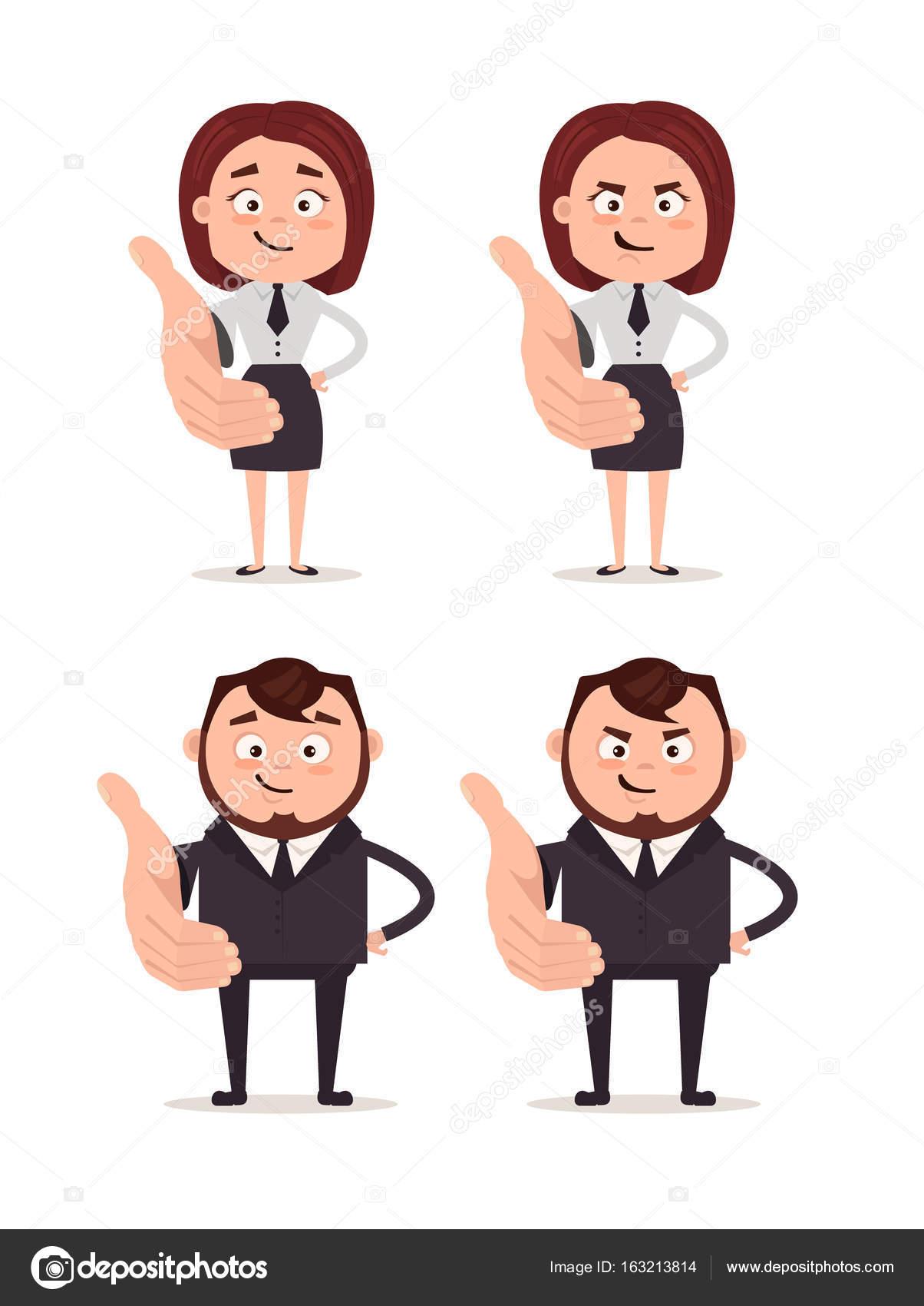 幸せなビジネスの男と女のオフィス労働者の文字を笑顔挨拶の手を保持し