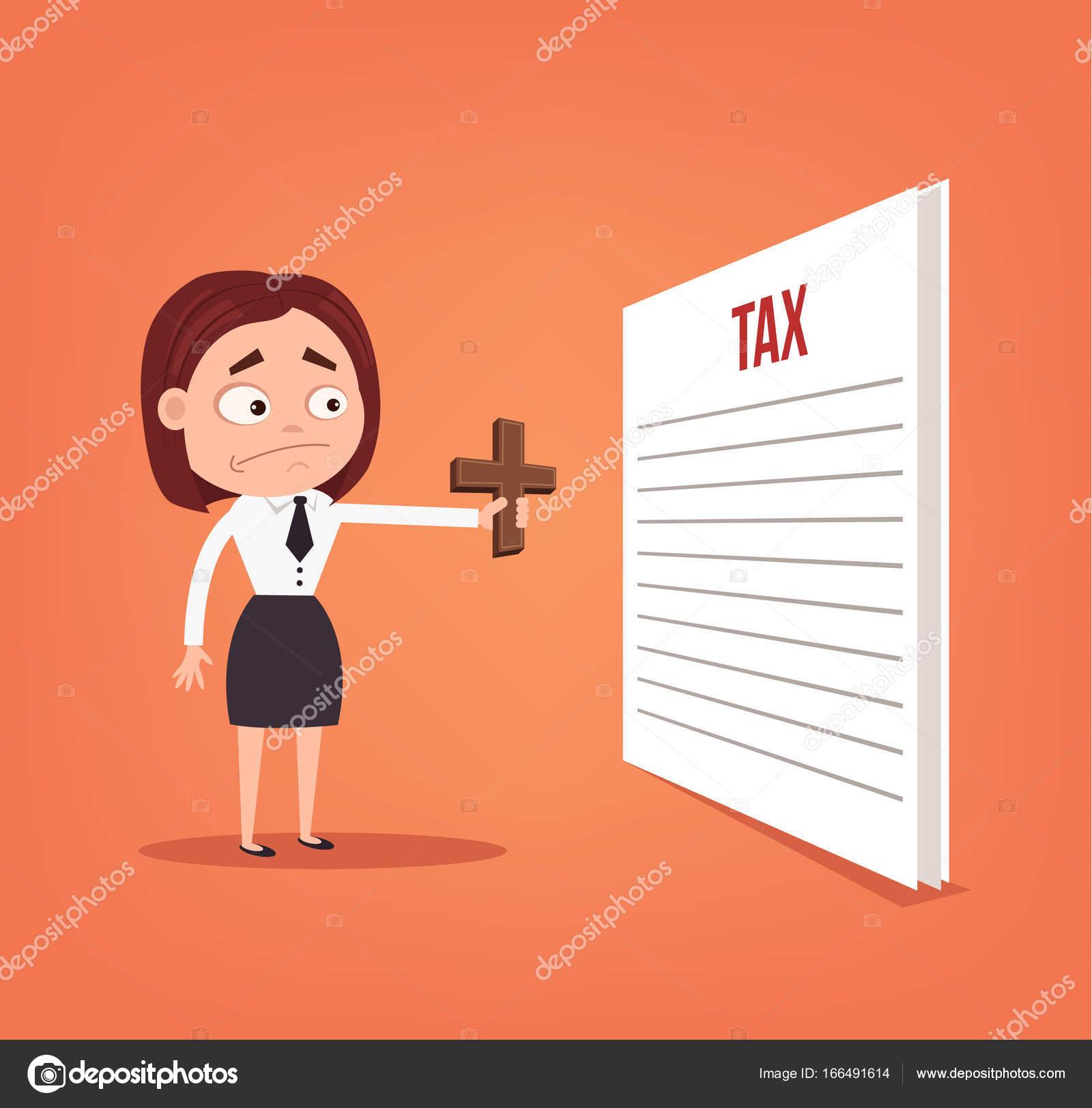 オフィス ワーカー ビジネス女性キャラクターを驚いて税を見て脱出する