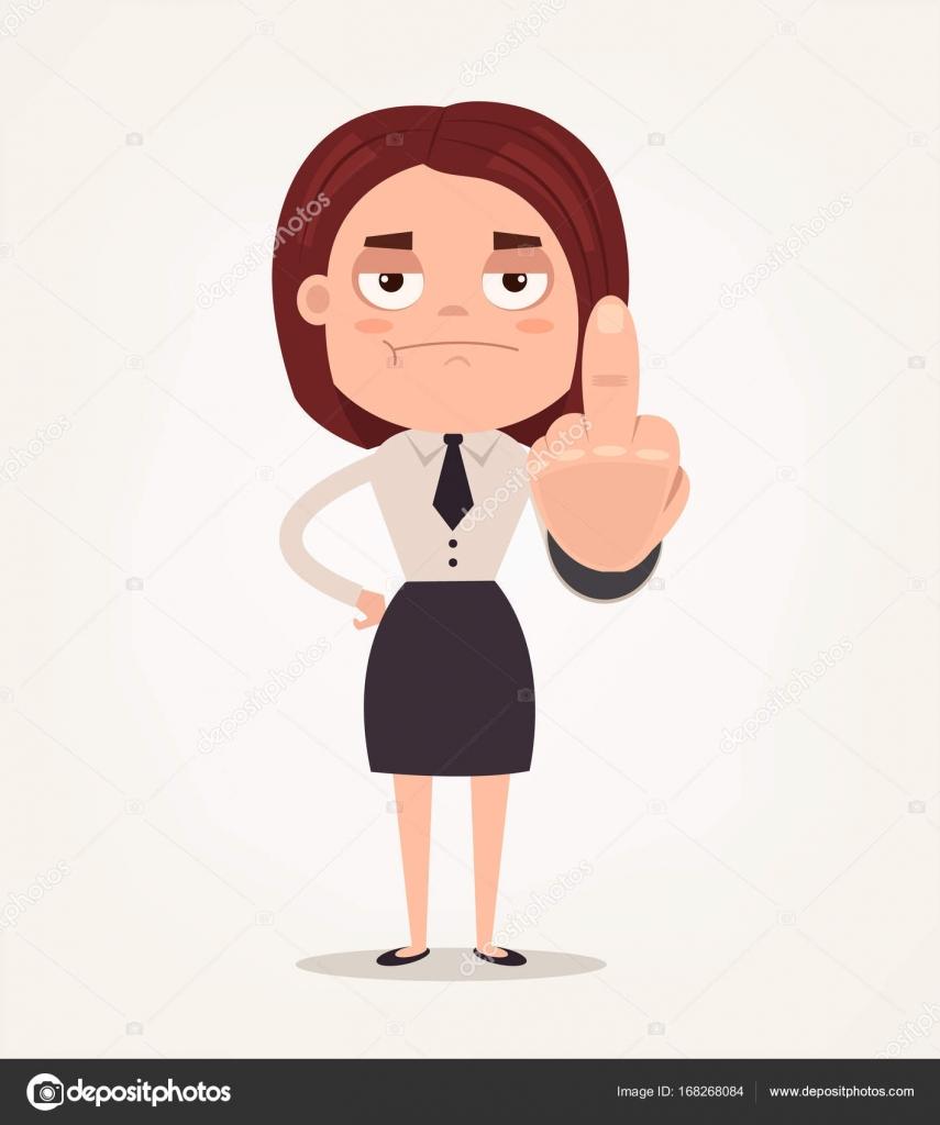 Infeliz Enojado Jefe Oficina Trabajador Empleado Mujer