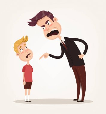 Angry sad unhappy father character scolding his son. Vector flat cartoon illustration