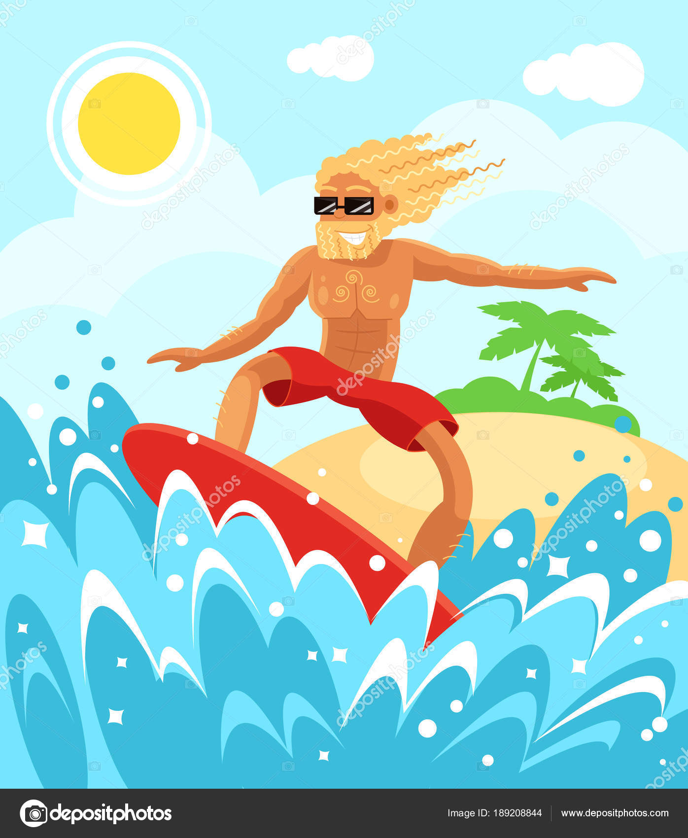 Holiday Vacation Relax Summer Time And Sunny Days Sea Water Wave Surfboard Concept Vector Flat Cartoon Illustration By MicrobaGrandioza