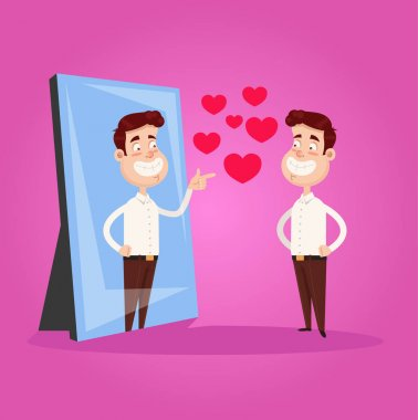 Happy smiling narcissistic businessman office worker character looks at mirror and pointing finger to reflection. Self support love motivation egoistical concept. Vector flat cartoon design graphic isolated illustration