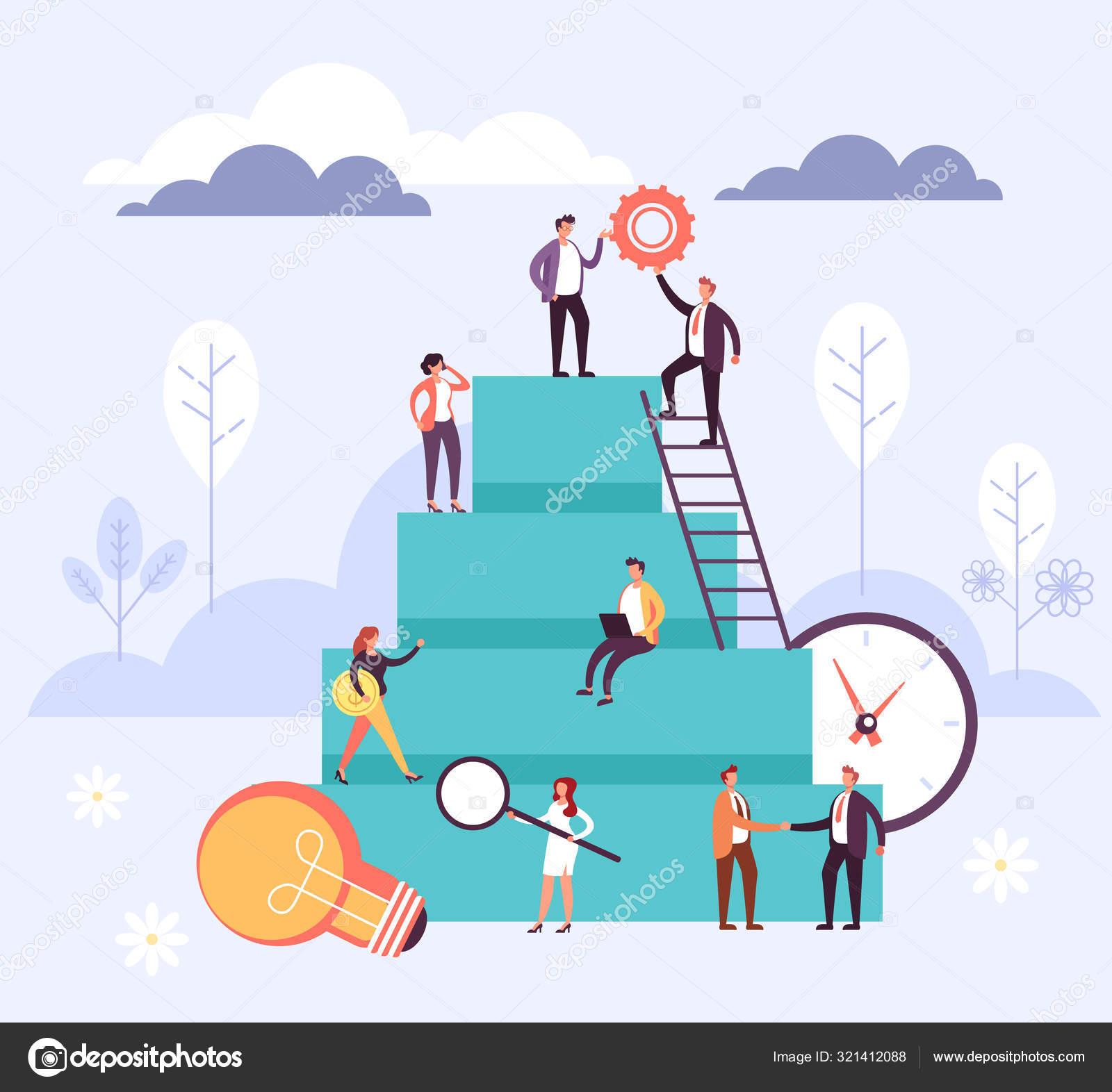 Career Development Office Workers Teamwork Concept Vector Flat Cartoon Graphic Stock Vector C Microbagrandioza 321412088