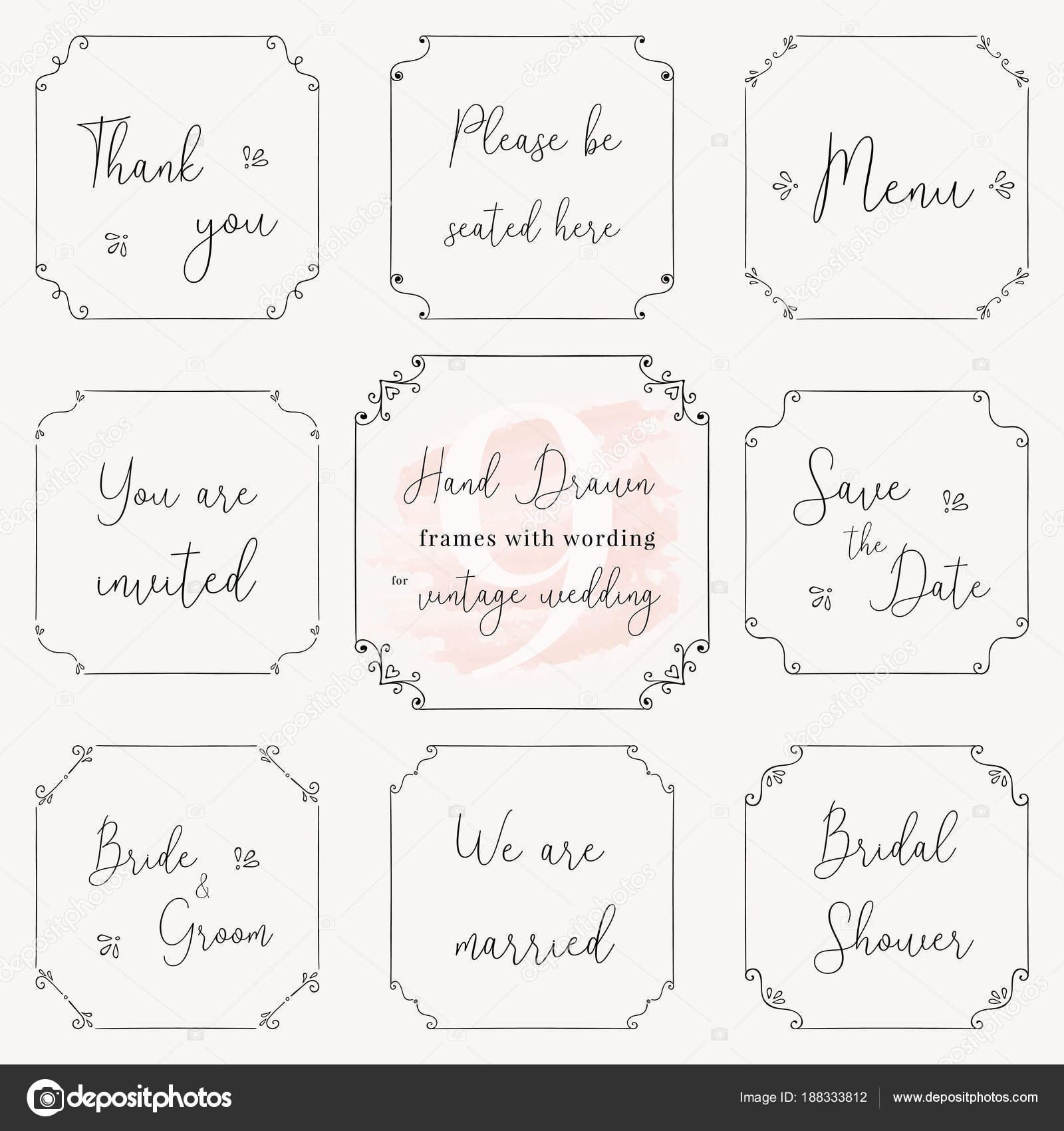 Hand drawn frame doodle vintage wedding frame vector design vintage wedding frame vector design templates vintage frame vector clip art with wedding words stopboris