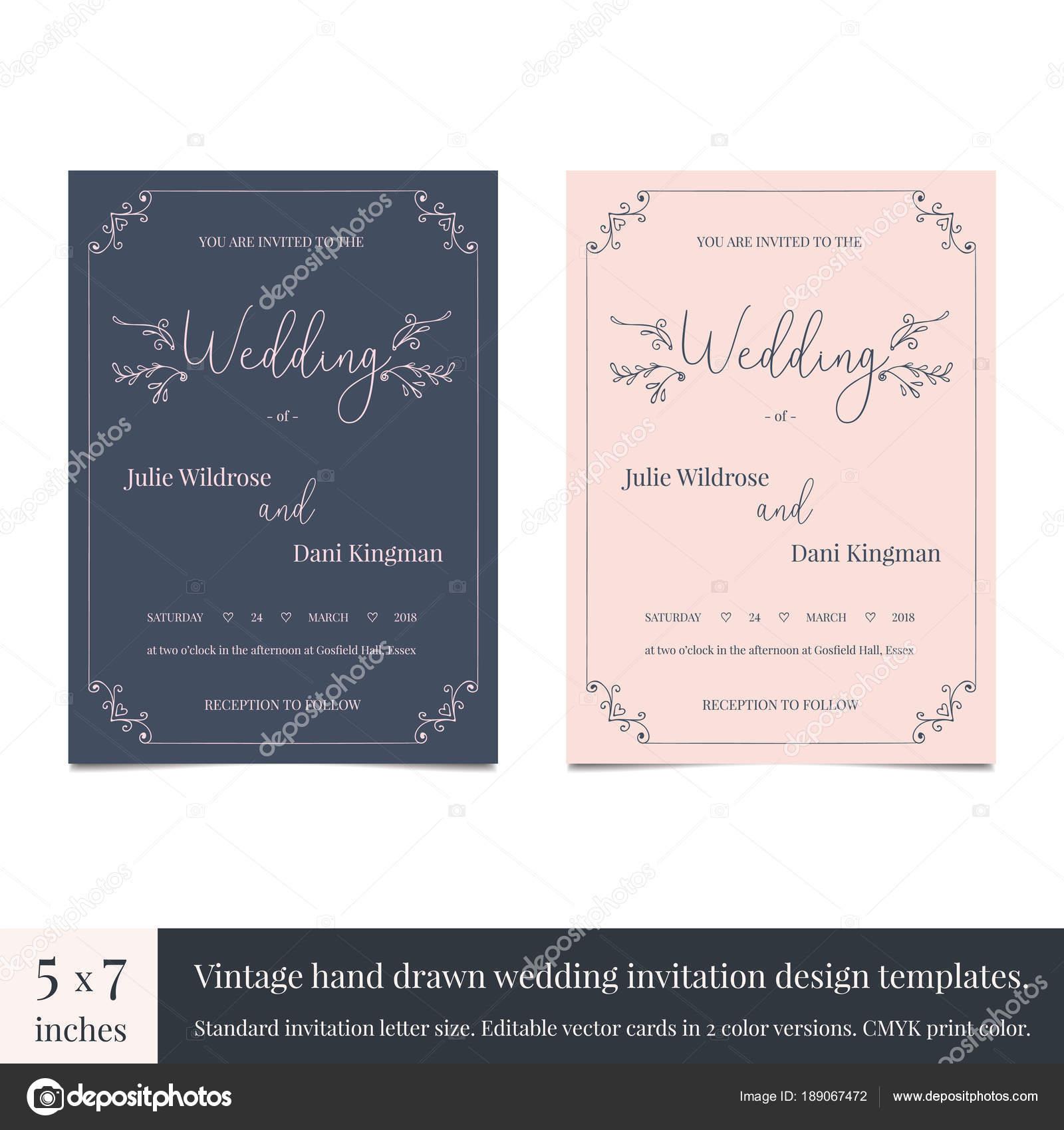 Hand drawn doodle wedding invitations design template. Hand drawn ...