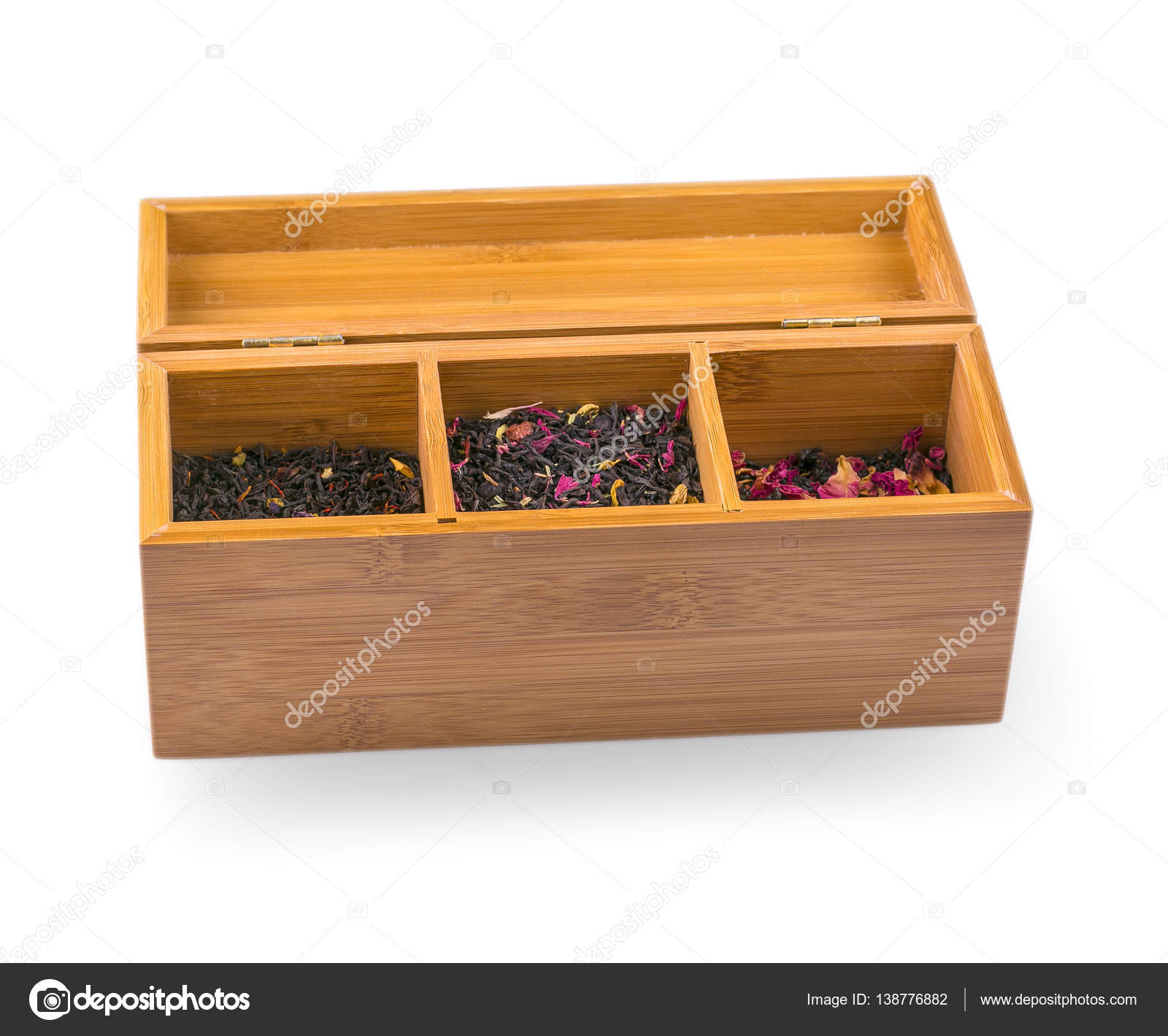 Assortment Of Dry Tea In Wooden Box Isolated On White Stock Photo