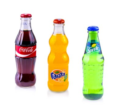 Coca Cola, Sprite and Fanta cans isolated on white background