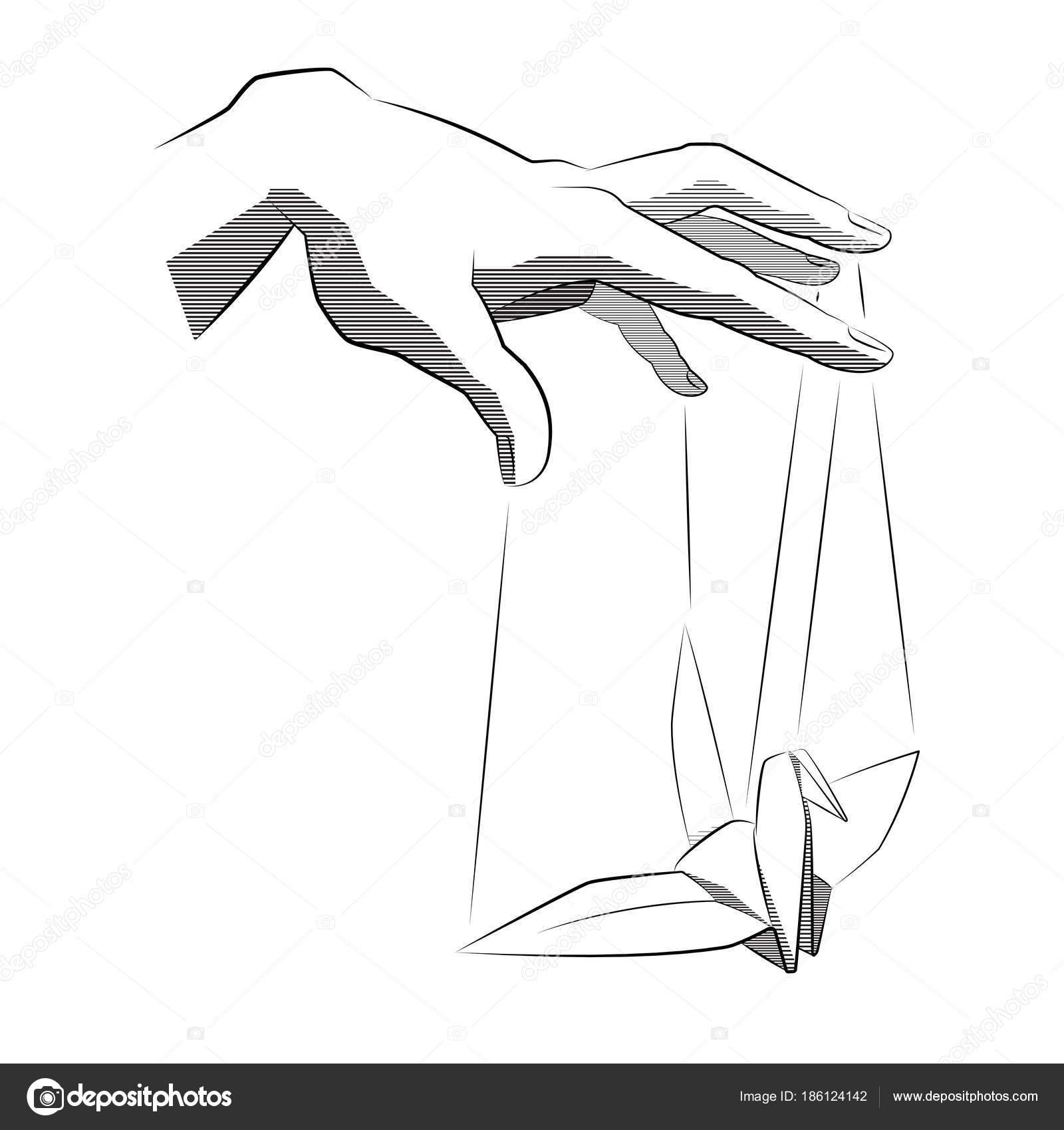 Vector Drawing Lines Disappear : 线艺术例证木偶手大师。挂上鸟折纸。纹身风格。矢量插图 — 图库矢量图像 seemalotion