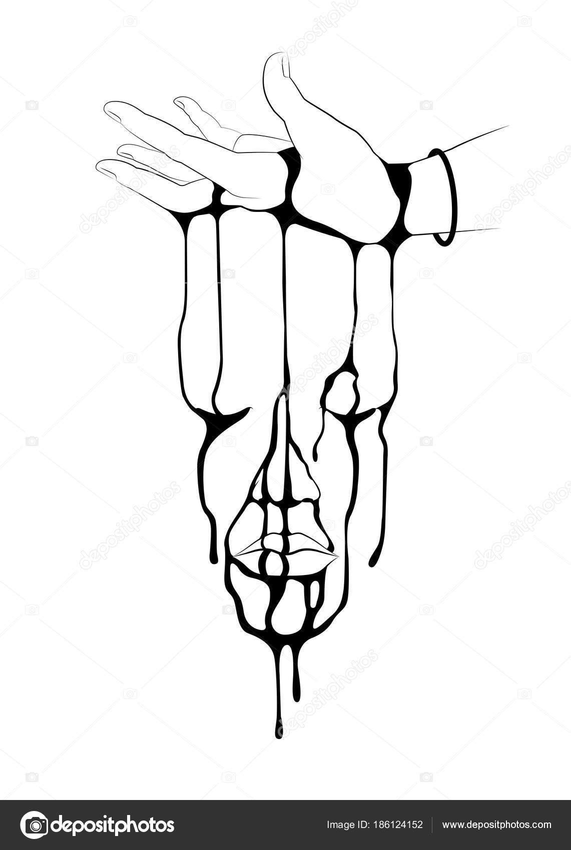 下出血を逆さまの手のライン アートのイラスト顔の形タトゥー