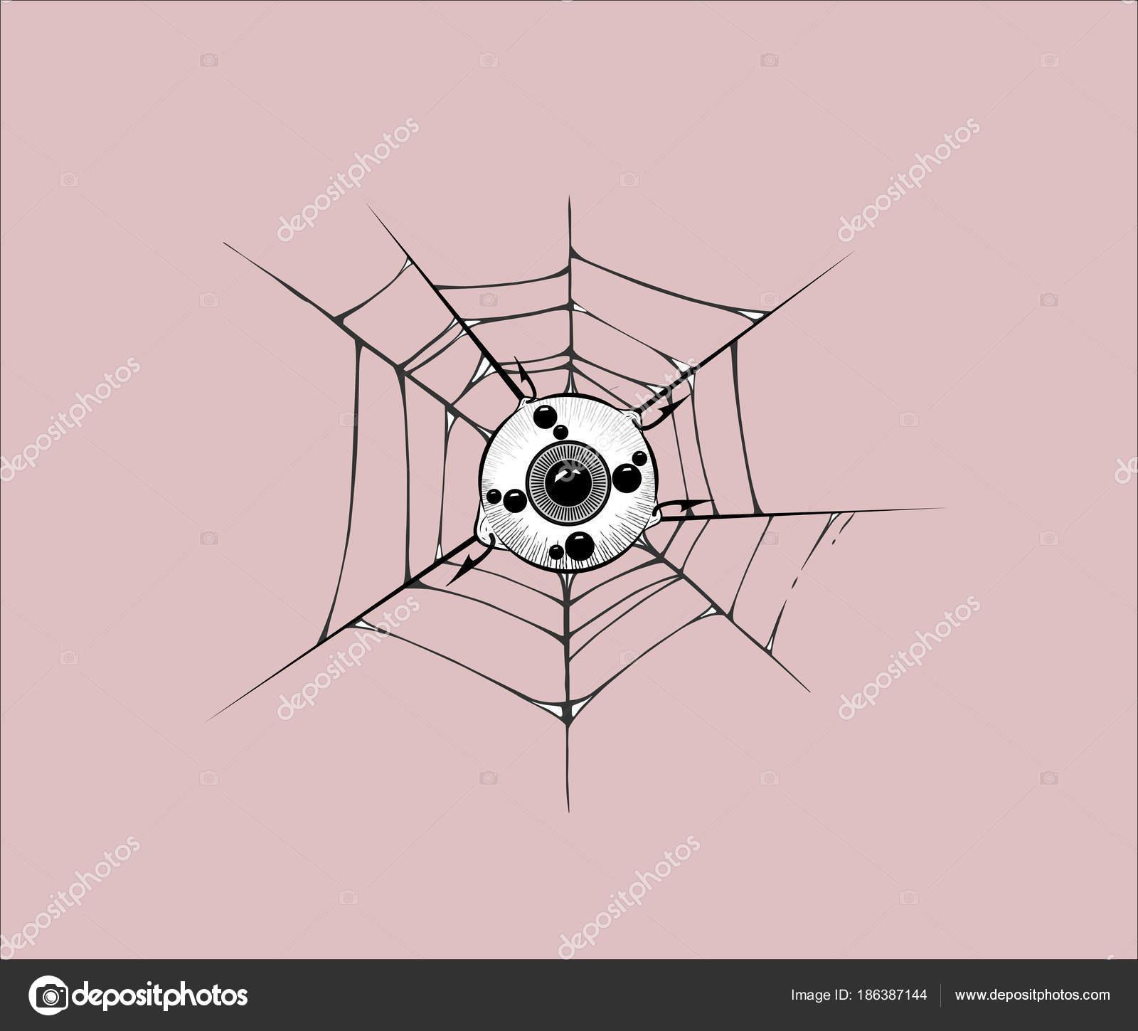 globo ocular se adjunta a la tela de araña y púas del gancho. vector ...
