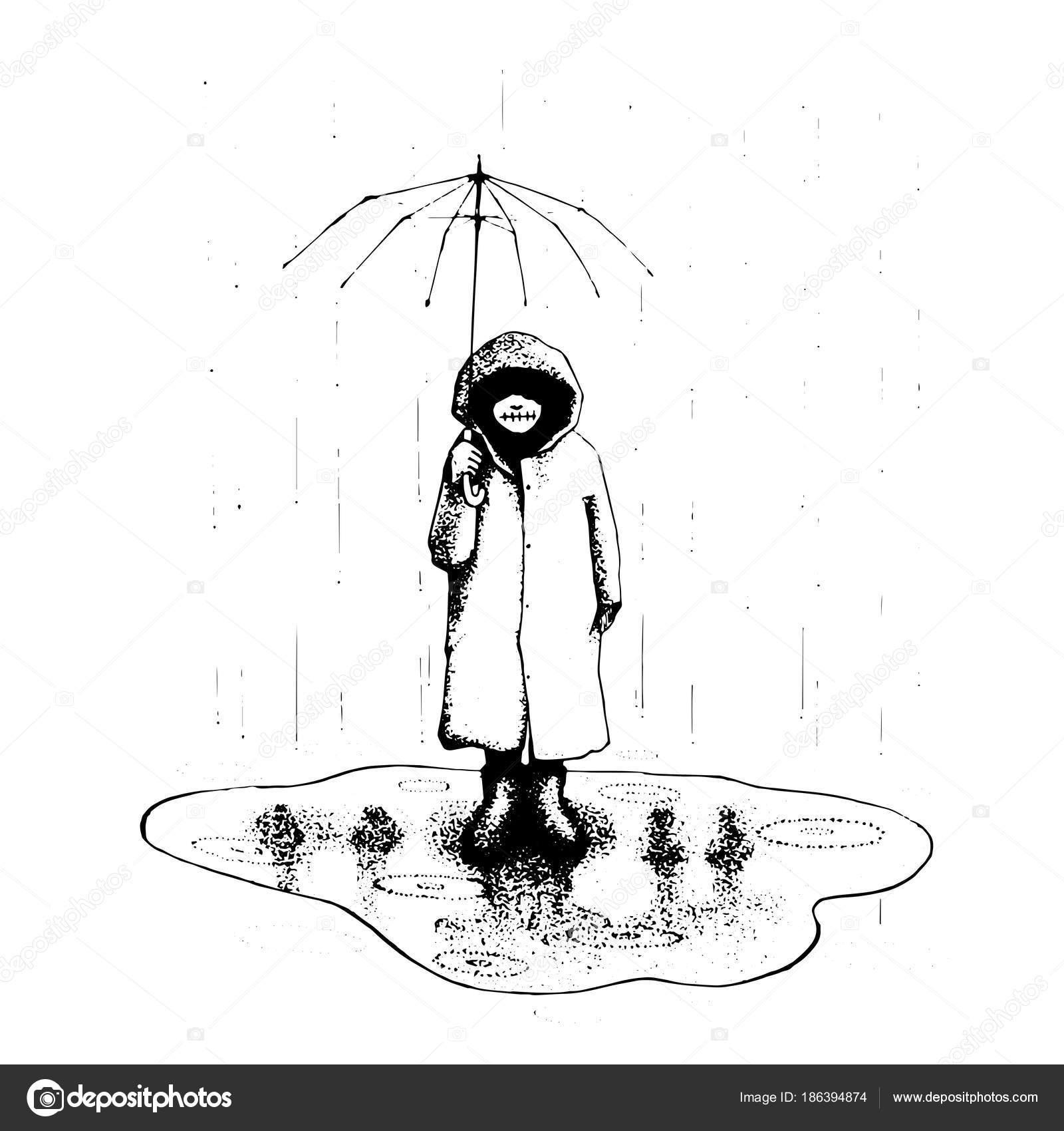 Mädchen Stand-alone im Regen mit Regenschirm. Vector Illustration ...