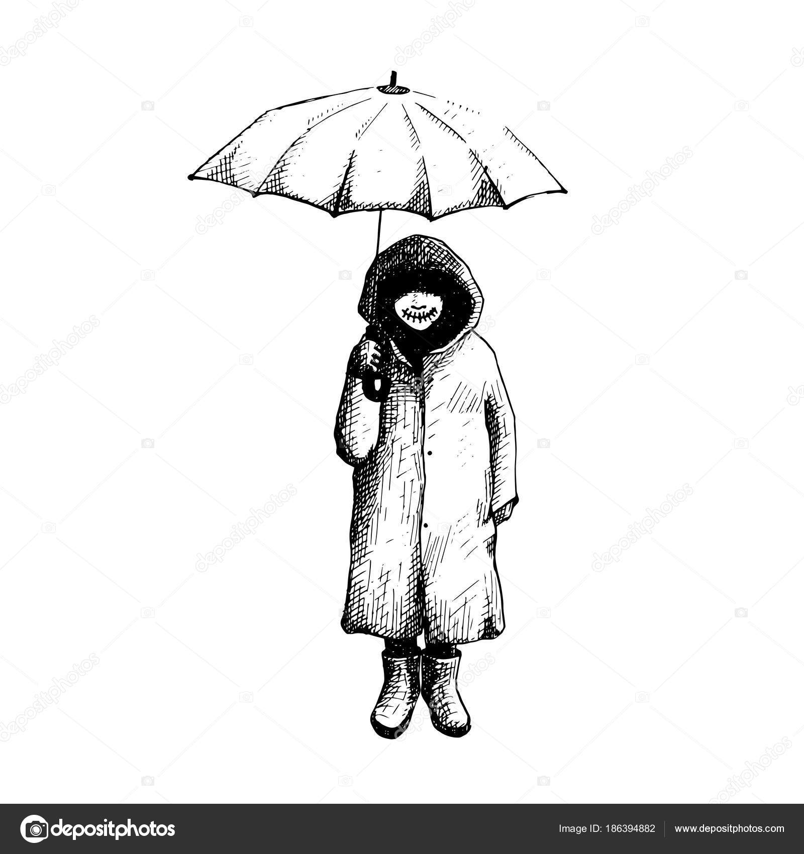 Alone girl drawing girl stand alone in the rain with