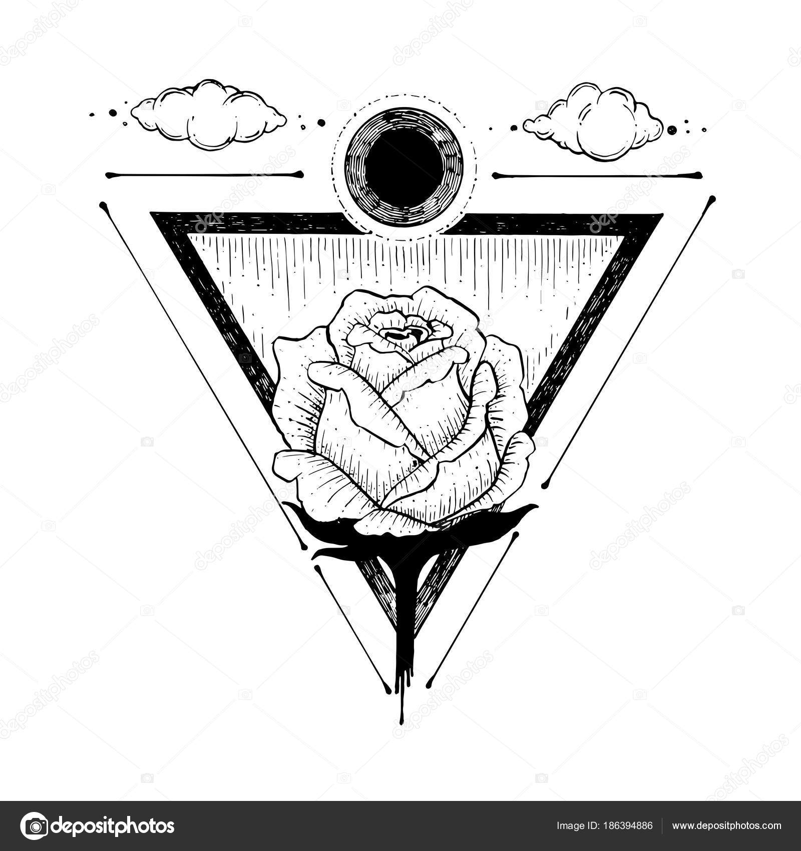 Esquisse D Une Belle Fleur Rose Et Triangle Sur Un Fond Blanc Main