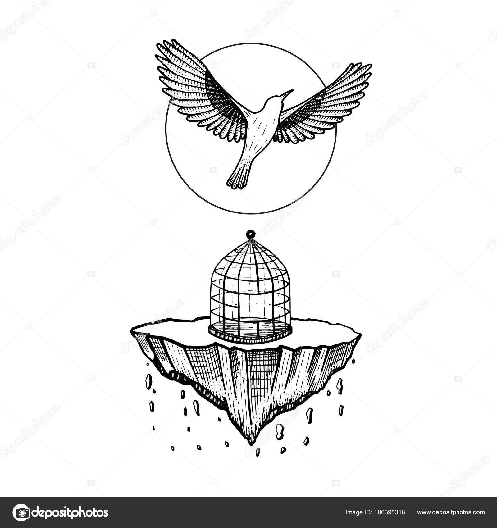 Dessin Oiseau Mouche oiseau de cage. le monde s'effondre. pierre tombe. oiseau mouche au