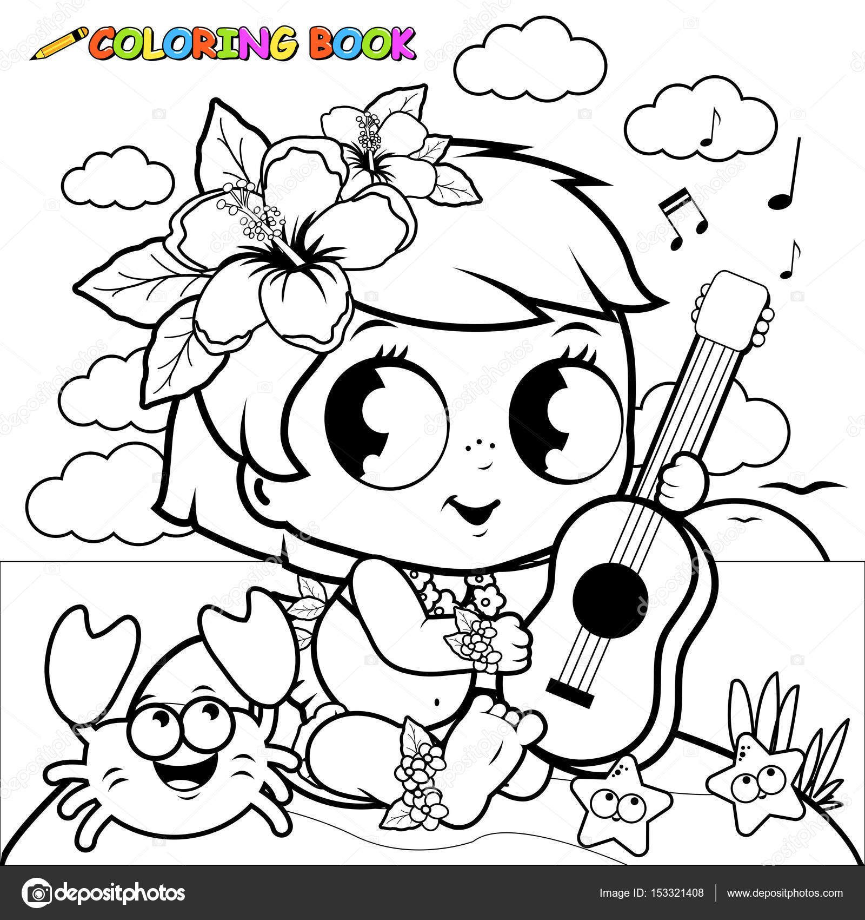 Niña hawaiana en una isla tocando el ukelele. Página de libro para ...