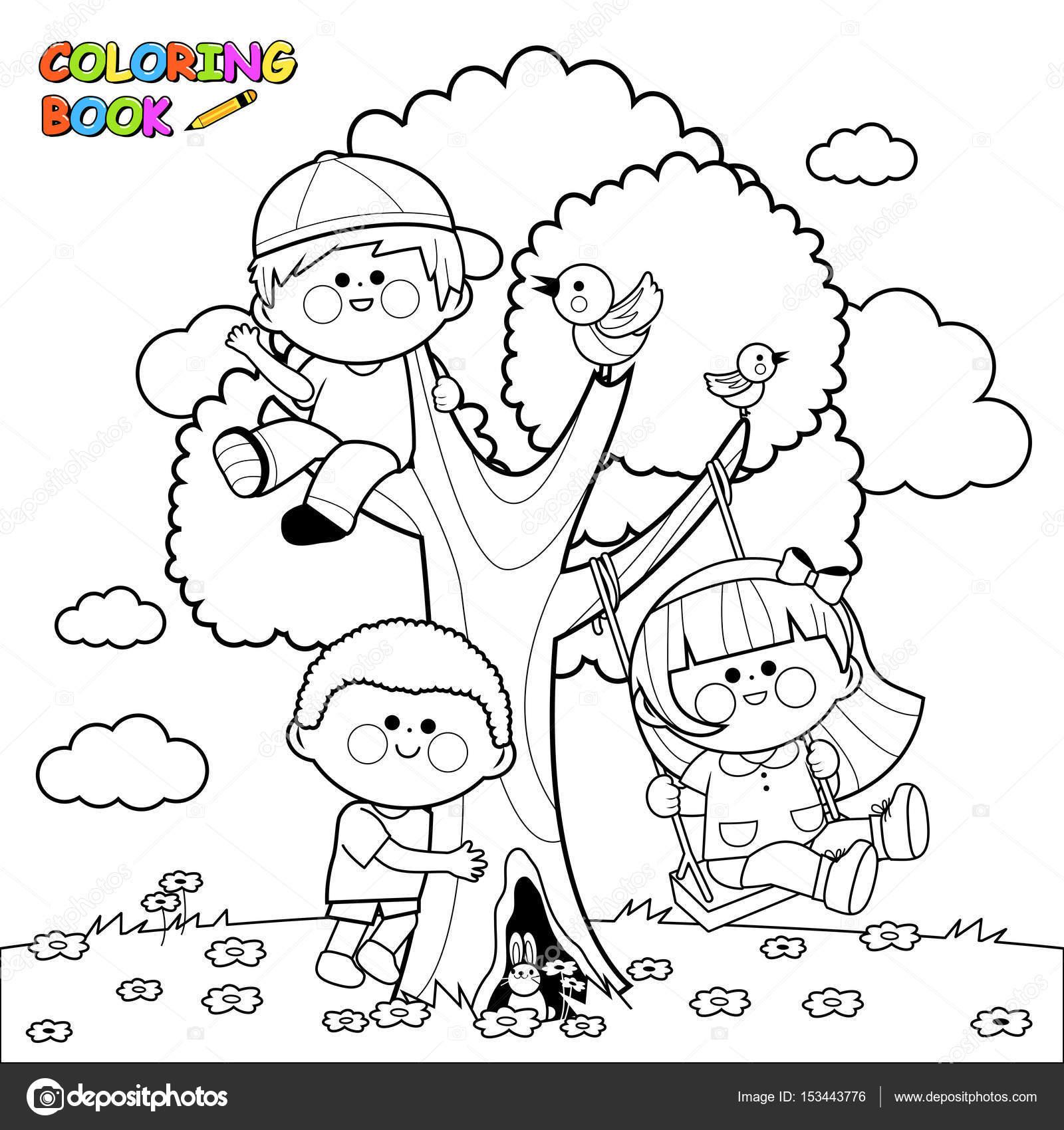 çocuklar Bir Ağaç üzerinde Oyun Boyama Kitabı Sayfası Stok Vektör
