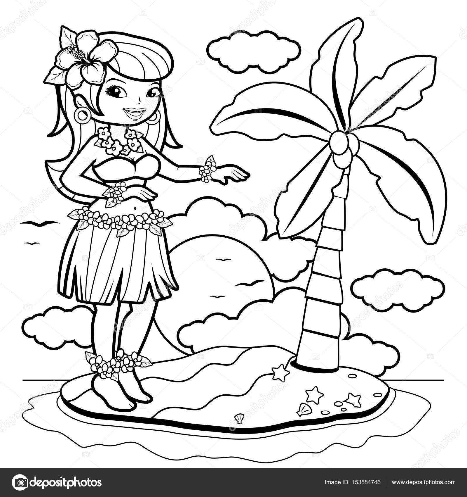 Hawaiiaanse Vrouw Hula Danser Op Een Eiland Boek Kleurplaat