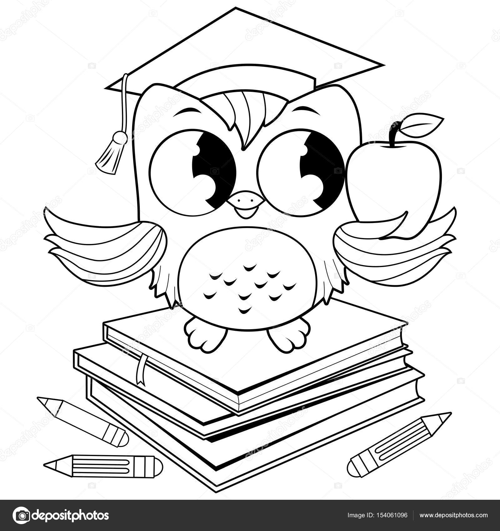 Owl on books with graduation hat. Black and white coloring book page ...