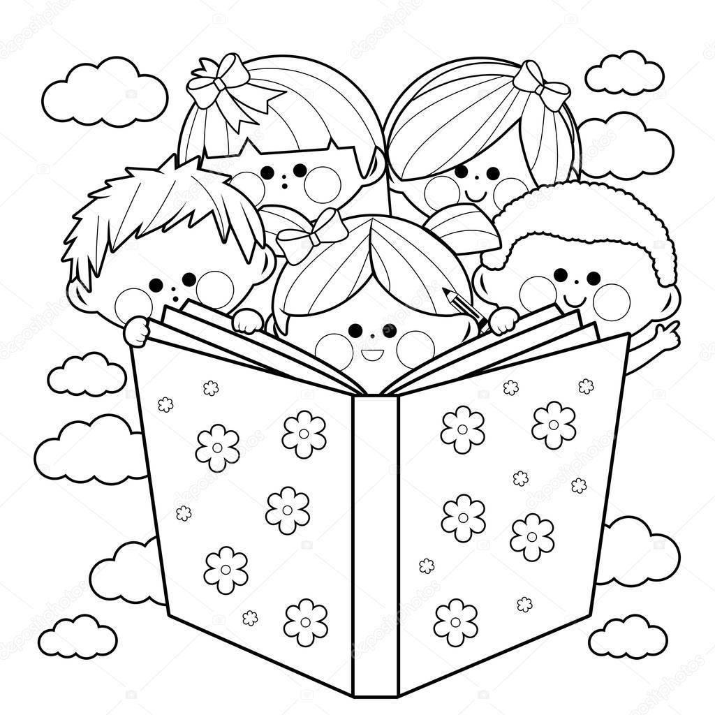 Grupo de crian as lendo um livro preto e branco para - Toddler libro da colorare ...