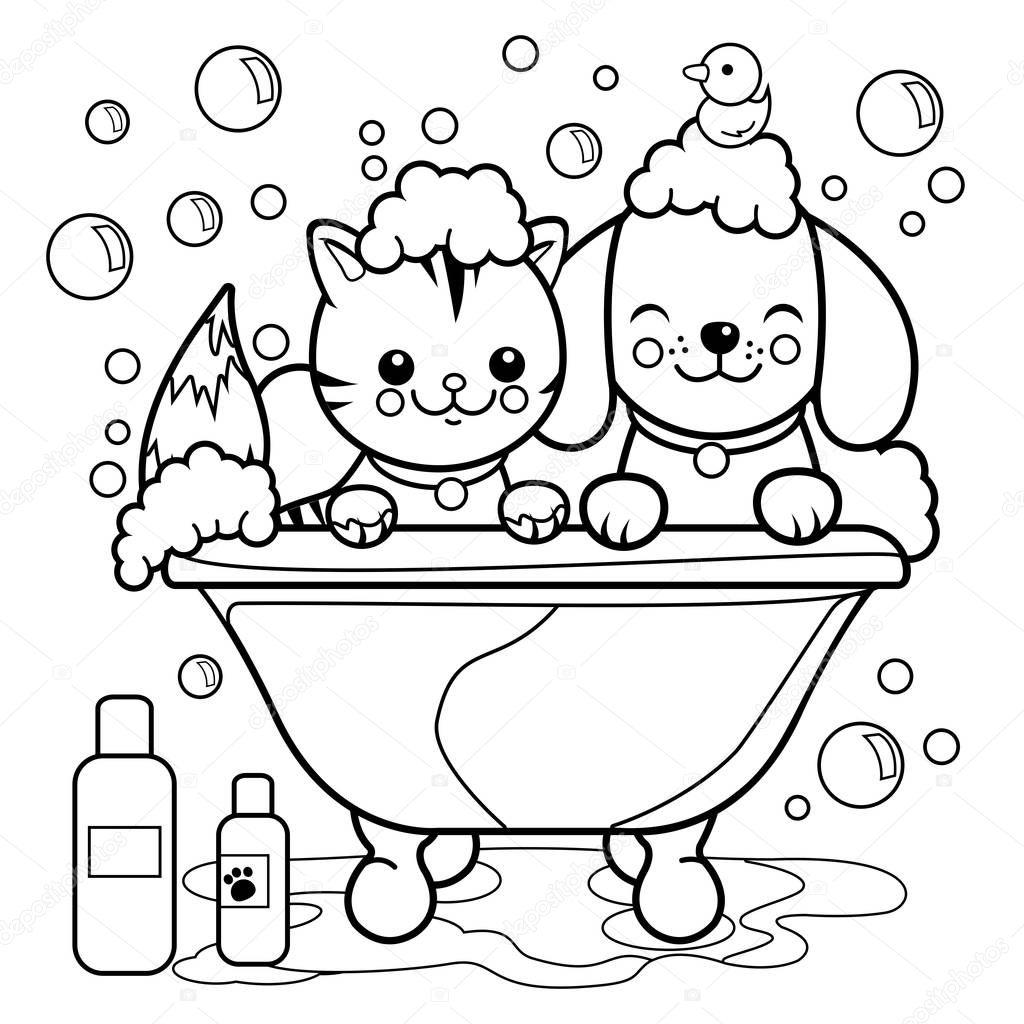 Dibujos Perro Y Gato Para Colorear Perro Y Gato Tomando