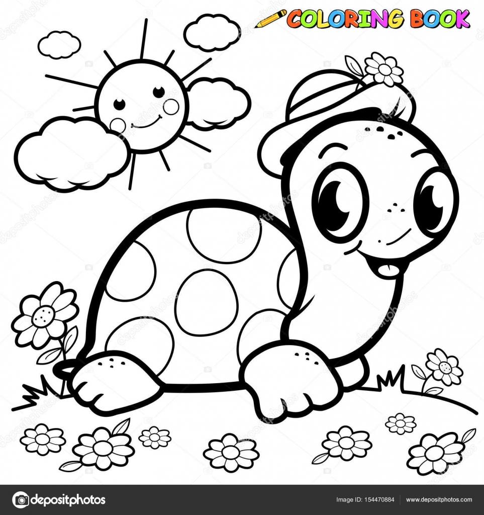 Tortuga feliz. Página de libro para colorear — Archivo Imágenes ...