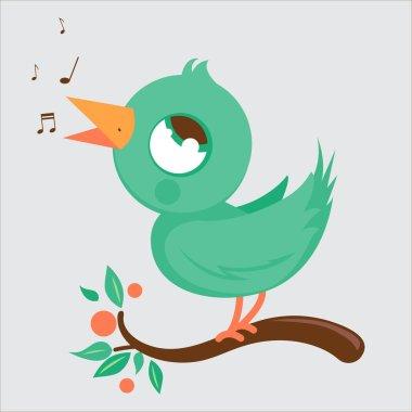 Cute bird on branch singing
