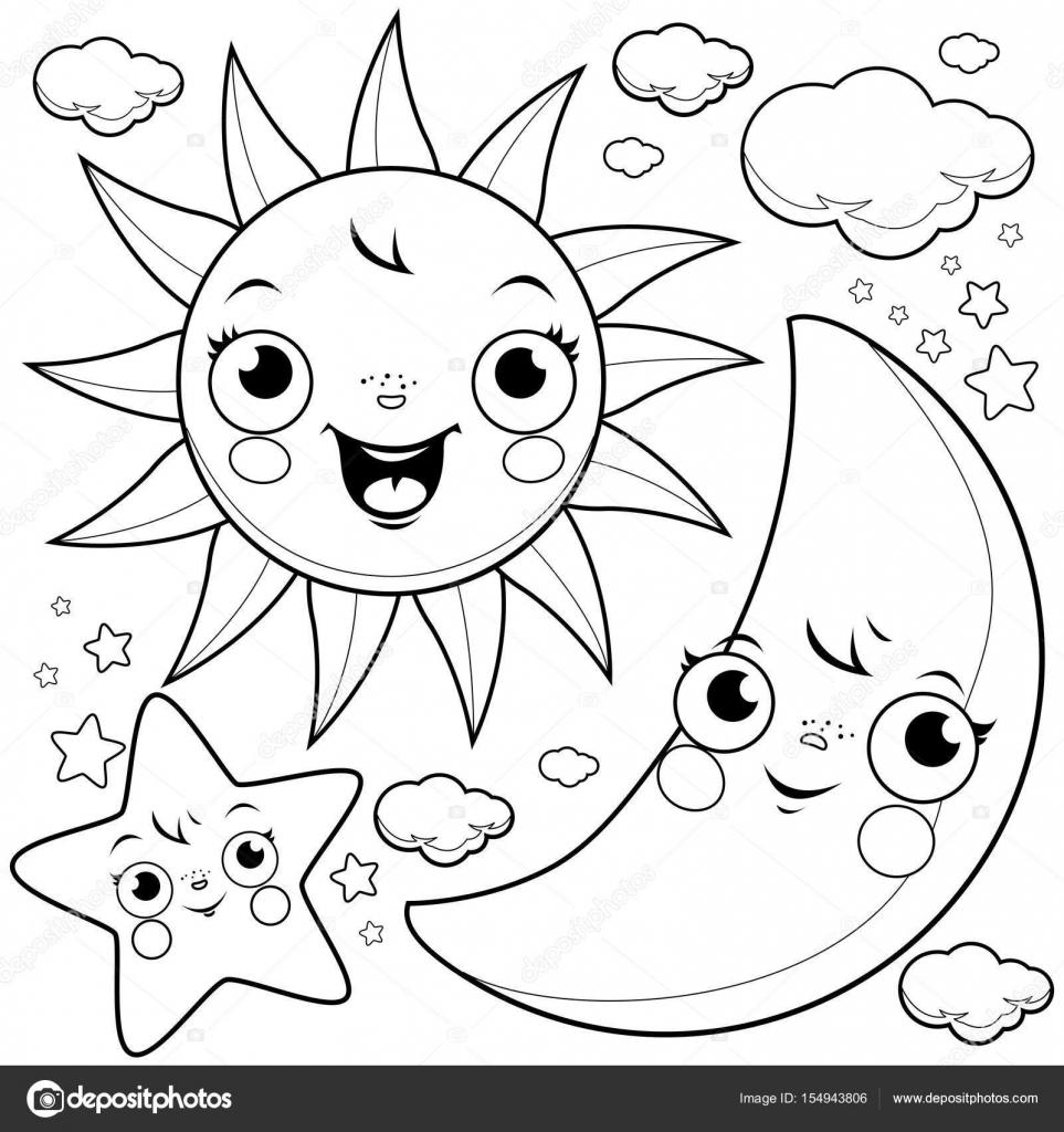 zon maan en sterren kleurplaat pagina stockvector