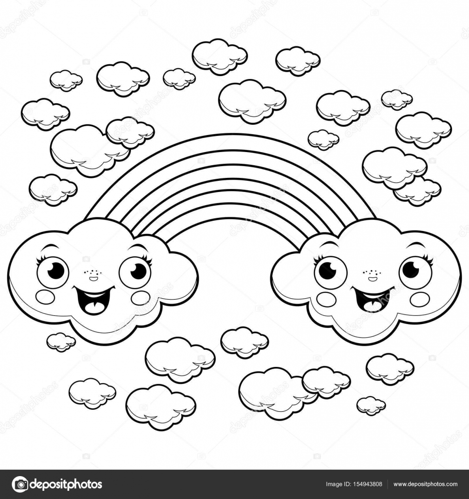 Rainbow cloud characters coloring page — Stock Vector © stockakia ...