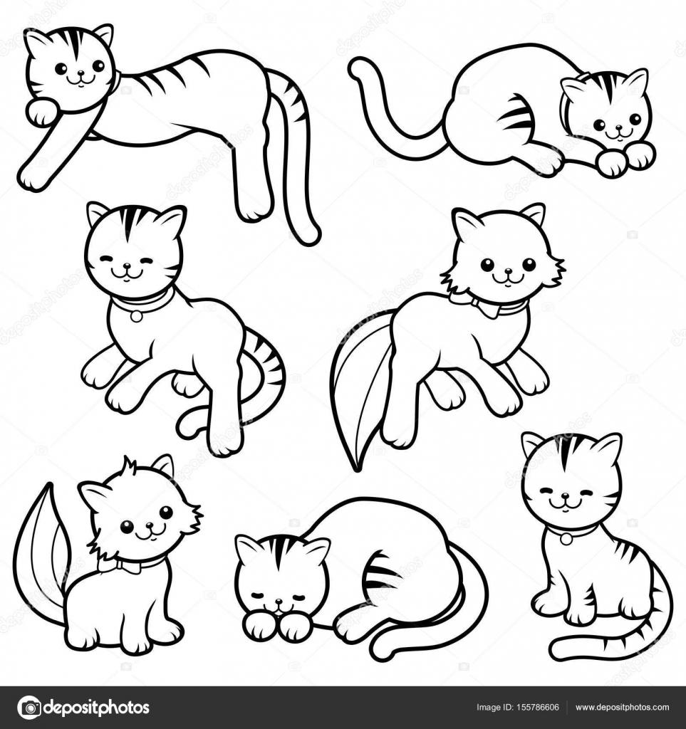 Gatos De Dibujos Animados Blanco Y Negro Archivo Imágenes