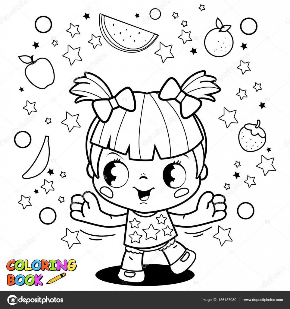 Sevimli Küçük Kız Meyve Hokkabazlık Boyama Kitabı Sayfası Stok