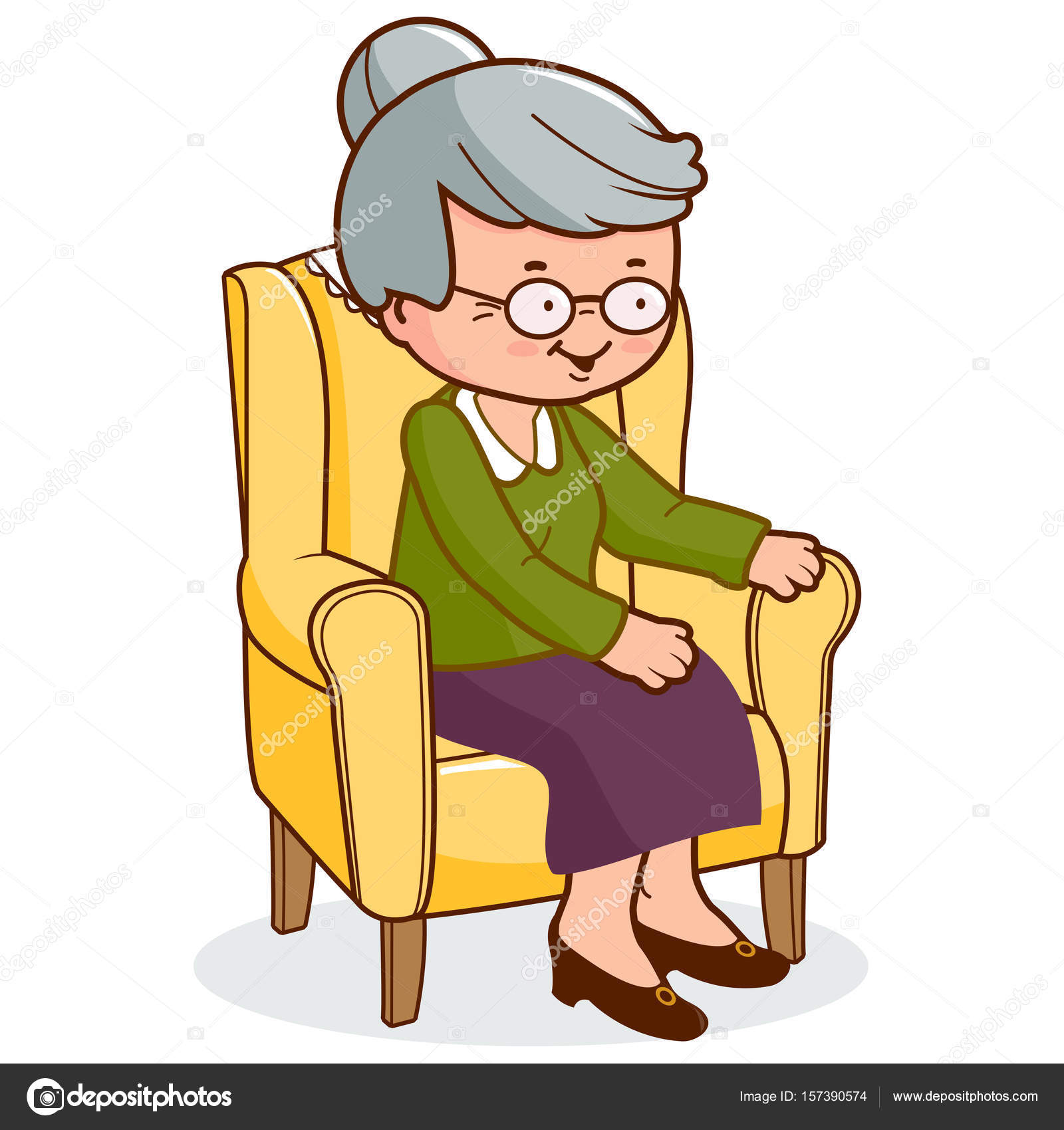 Old Woman Sitting In Armchair Vector Image By Stockakia Vector Stock 157390574