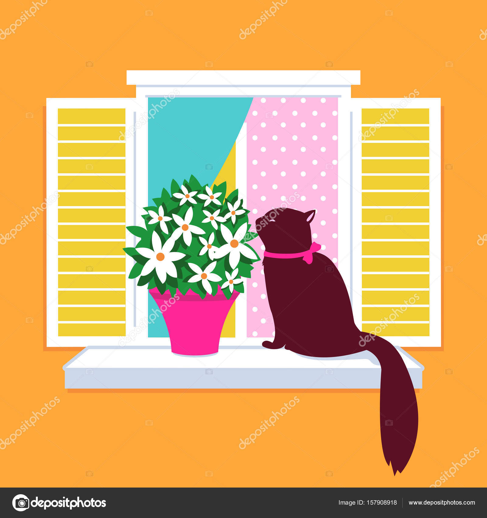 Gatto seduto sul davanzale di una finestra — Vettoriale Stock