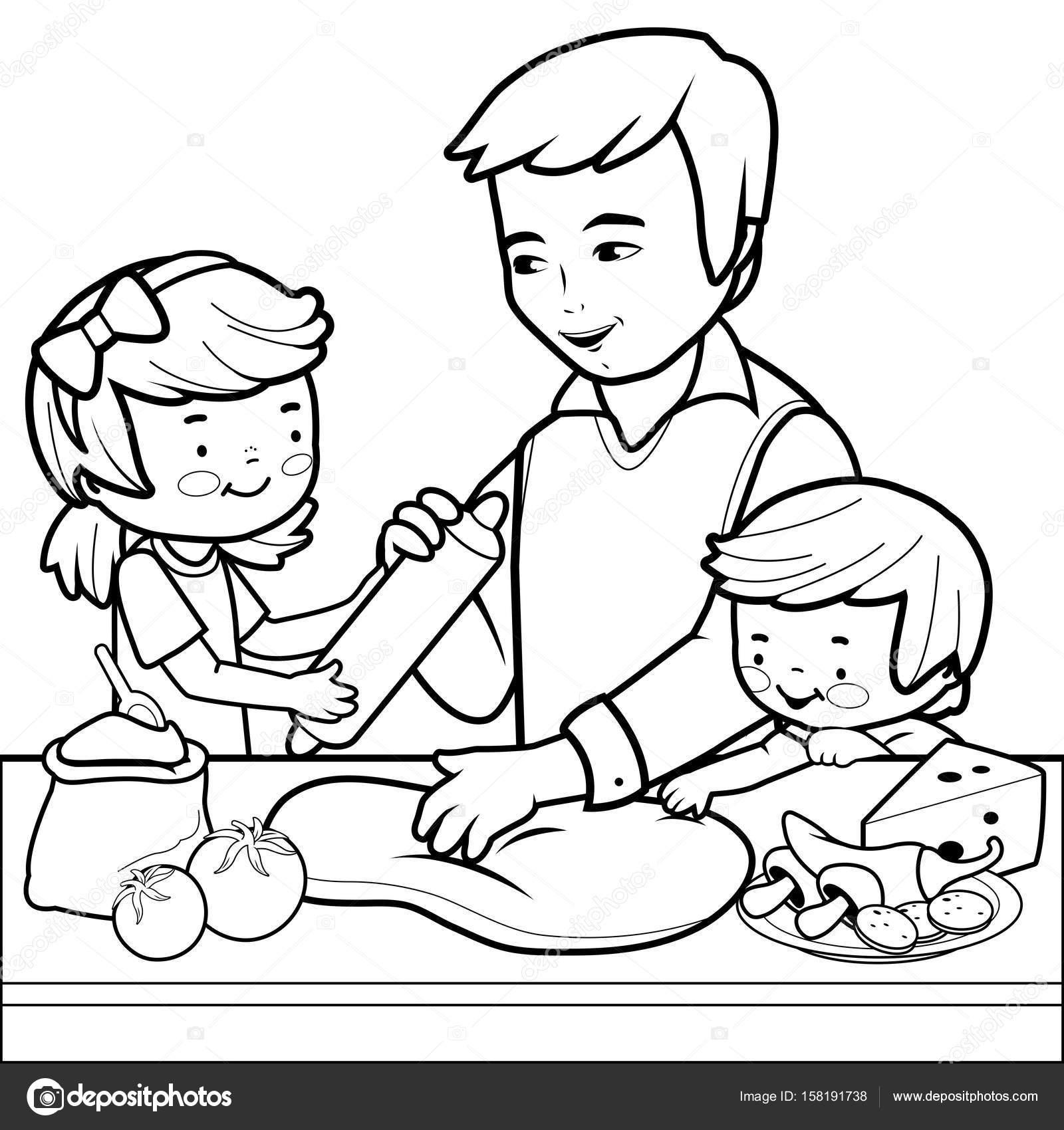 Vader En Kinderen Koken Pizza In De Keuken Kleurplaat Stockvector