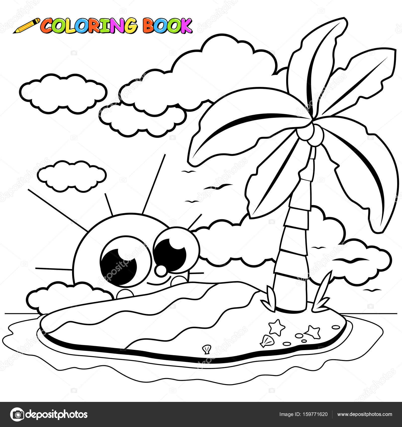 Isla desierta y el sol de dibujos animados para colorear página del ...