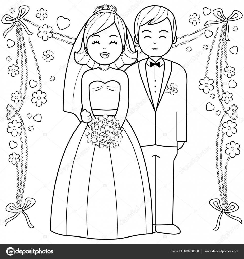 bruid en bruidegom zwart wit boekenpagina kleurplaten