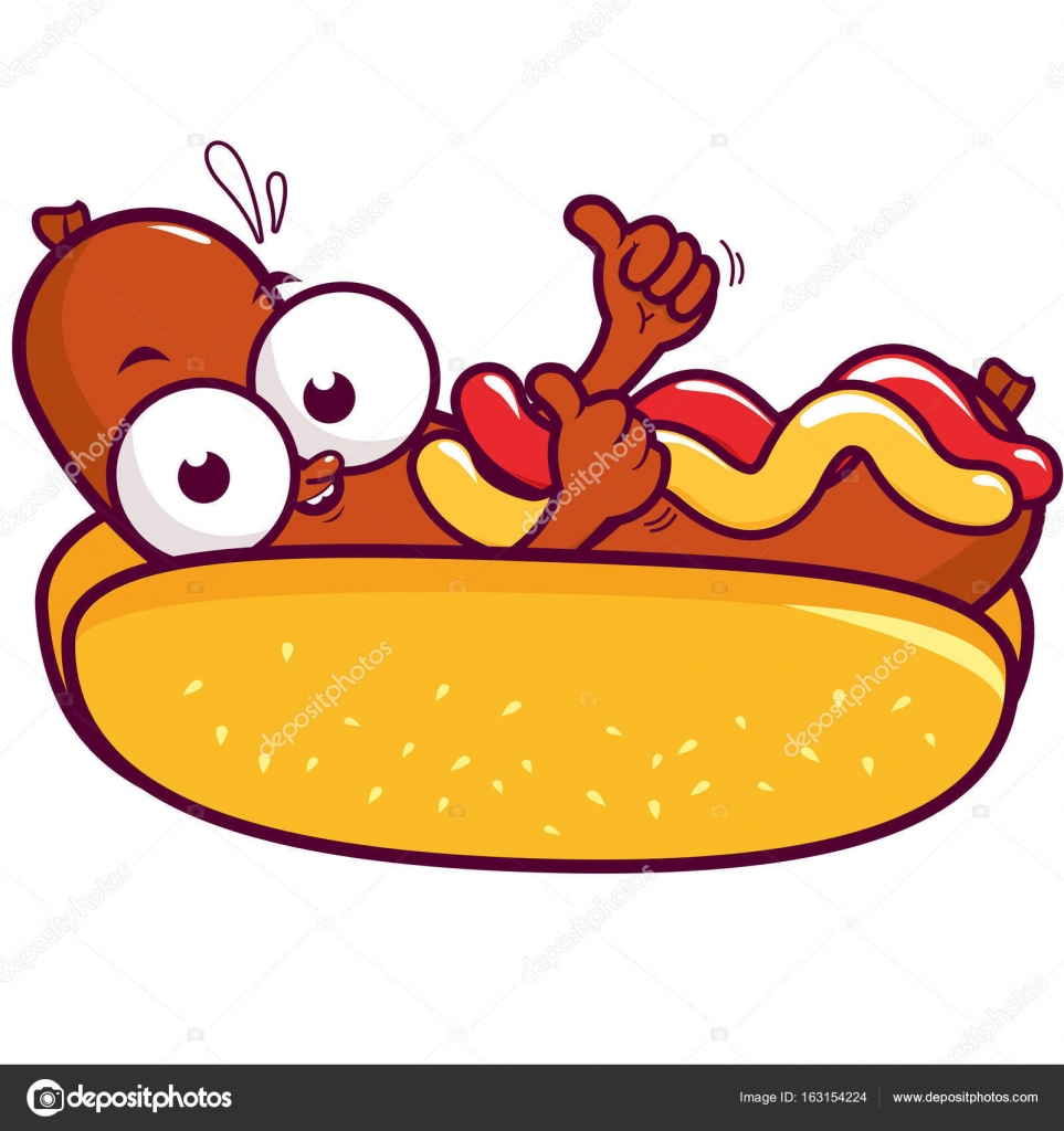 Cartoon Witj Hot Dog And Bun
