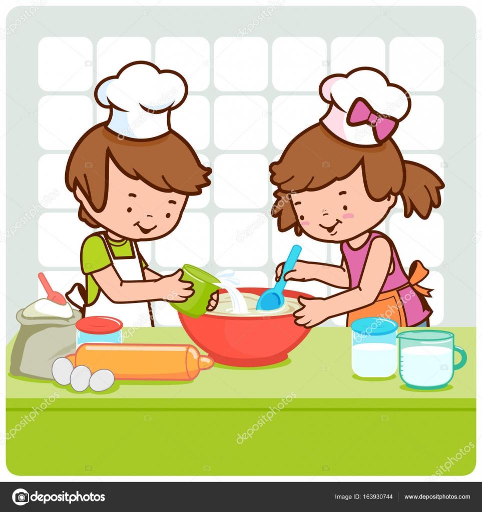 Imágenes Ninos Cocinando Niños Cocinando En La Cocina Vector De