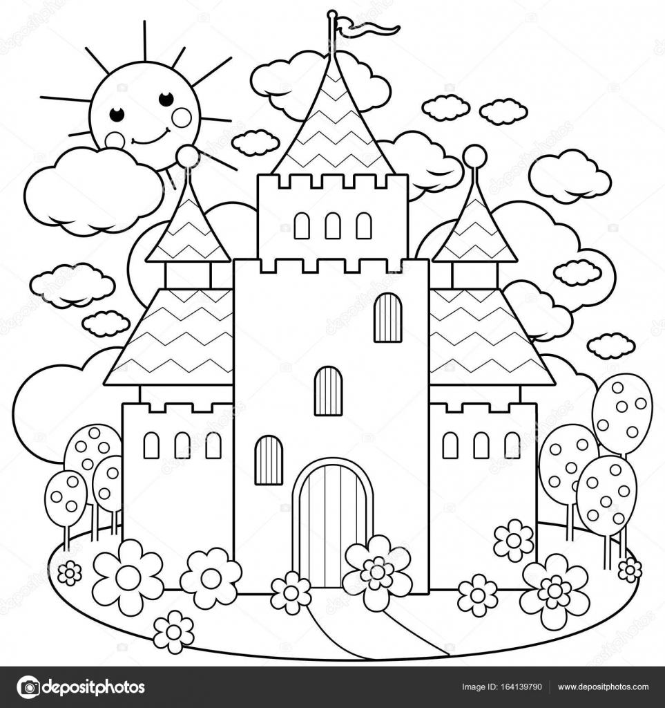Fairy tale castle and flowers. Black and white coloring page vector ...