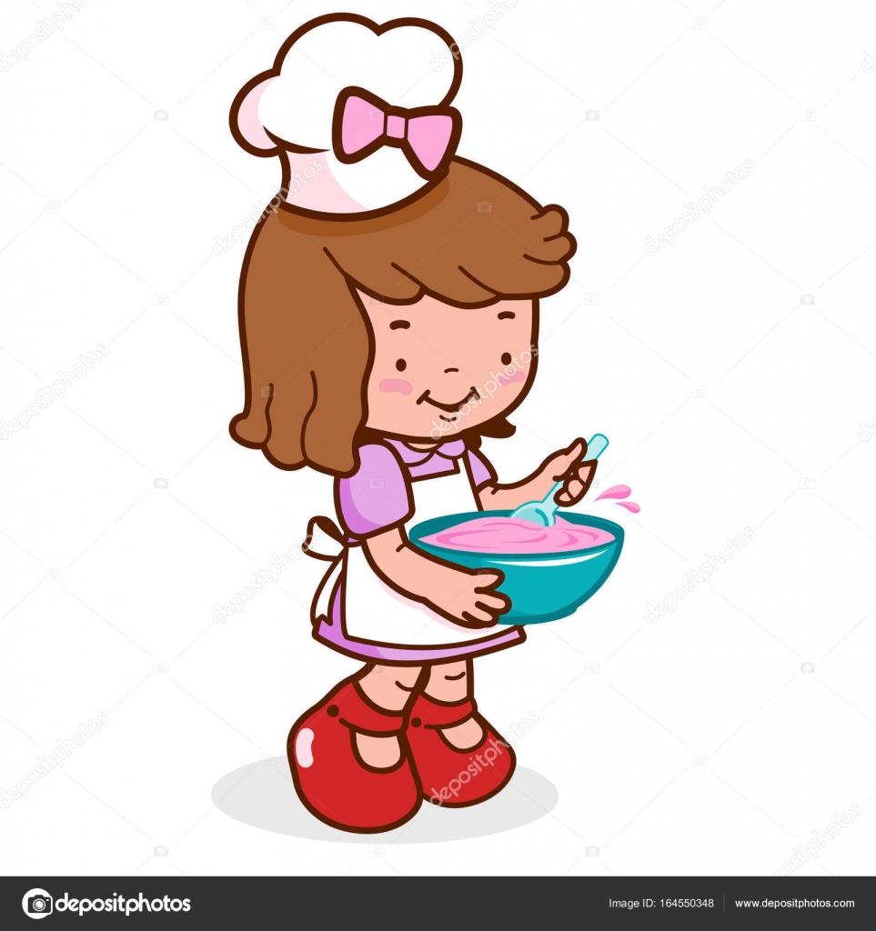 Little chef chica cocinando vector de stock stockakia - Nina cocinando ...