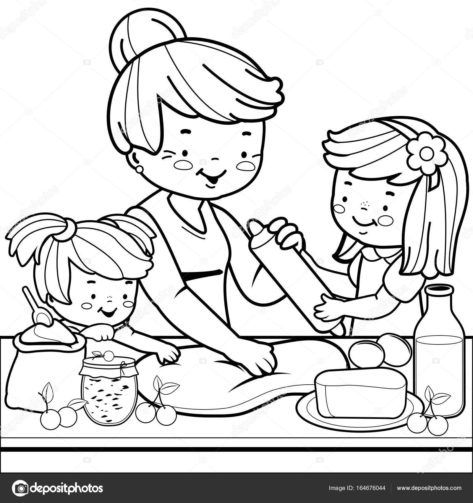Oma En Kinderen Koken In De Keuken Boek Kleurplaat Stockvector