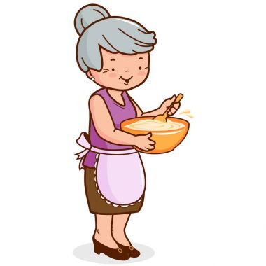 Grandma cooking. Vector illustration