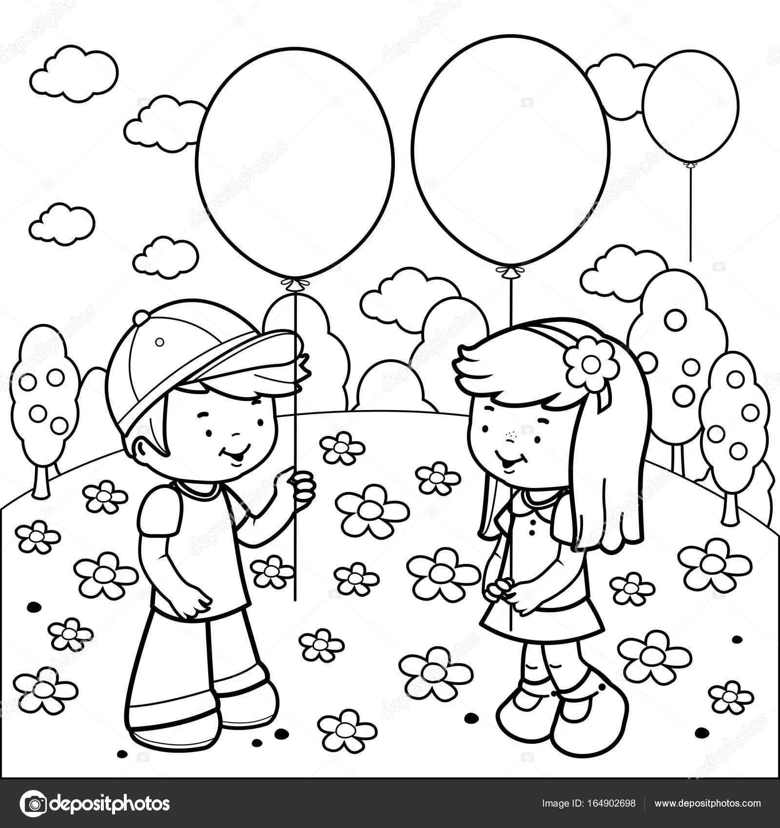 Niños en el Parque jugando con globos. Blanco y negro para colorear ...