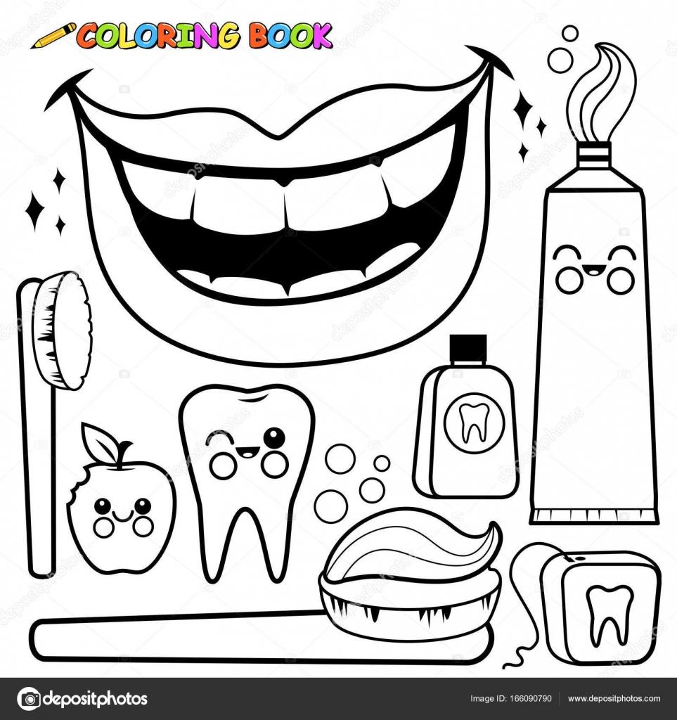 Dişlerle Ilgili Sağlık Bilgisi Vektör Kümesi Siyah Ve Beyaz Boyama