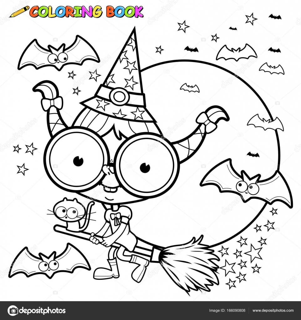 Bruja de Halloween volando con escoba. Página para colorear de ...