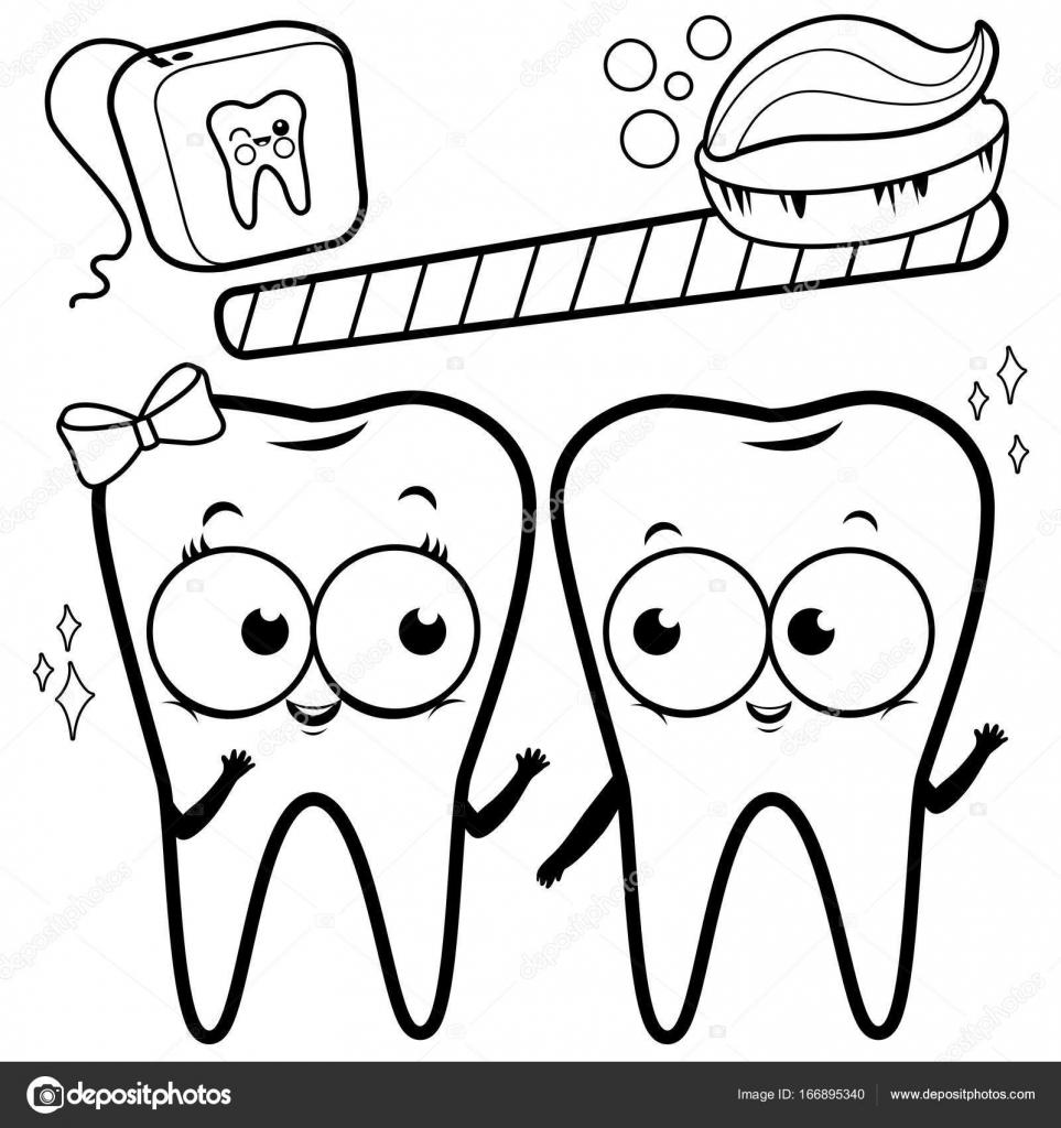 çizgi Film Diş Diş Fırçası Ve Diş Ipi Ile Siyah Ve Beyaz Boyama