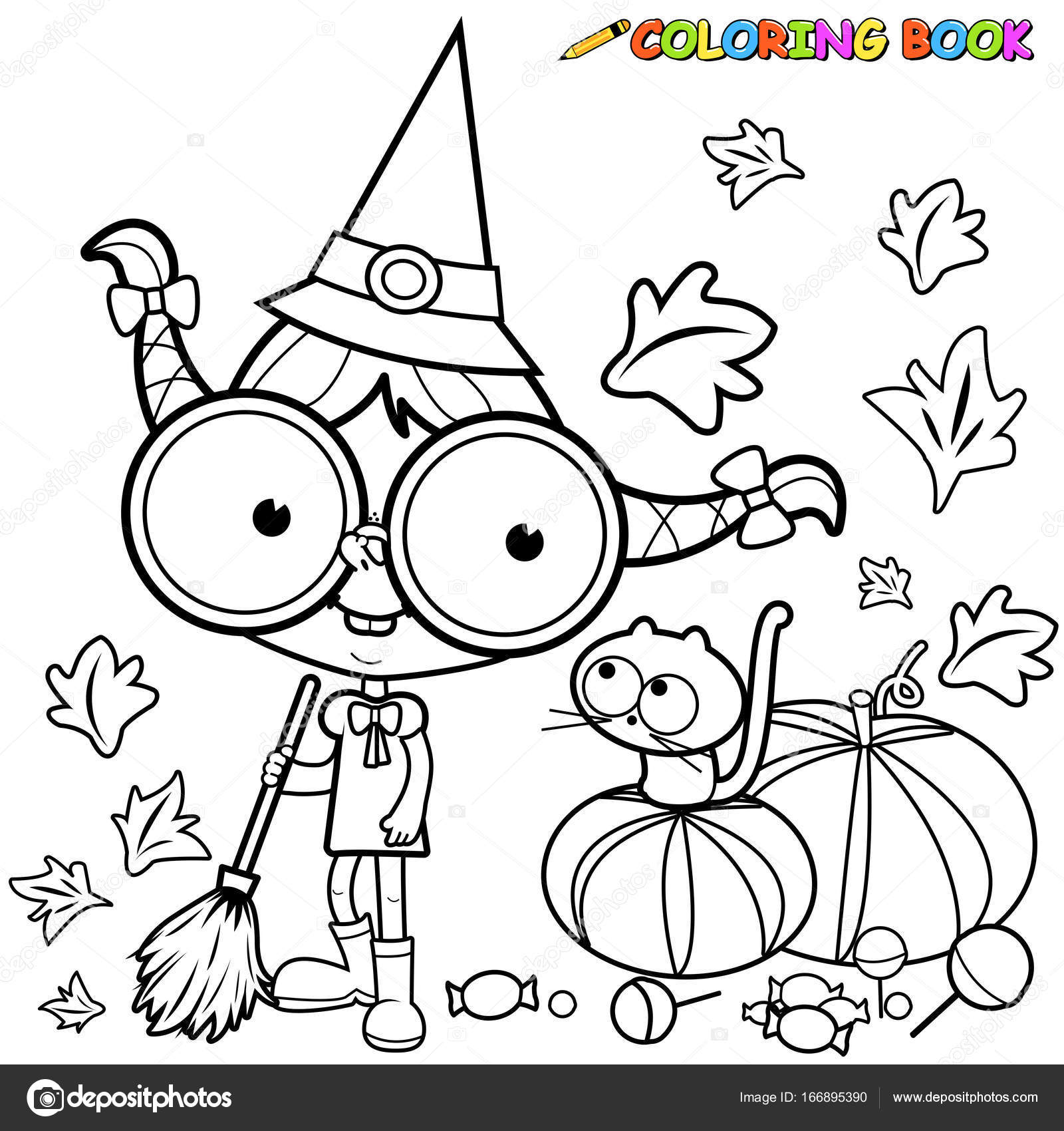 Halloween Witch Sweeping Pumpkin Leaves Black And White Coloring Page Stock Vector 166895390