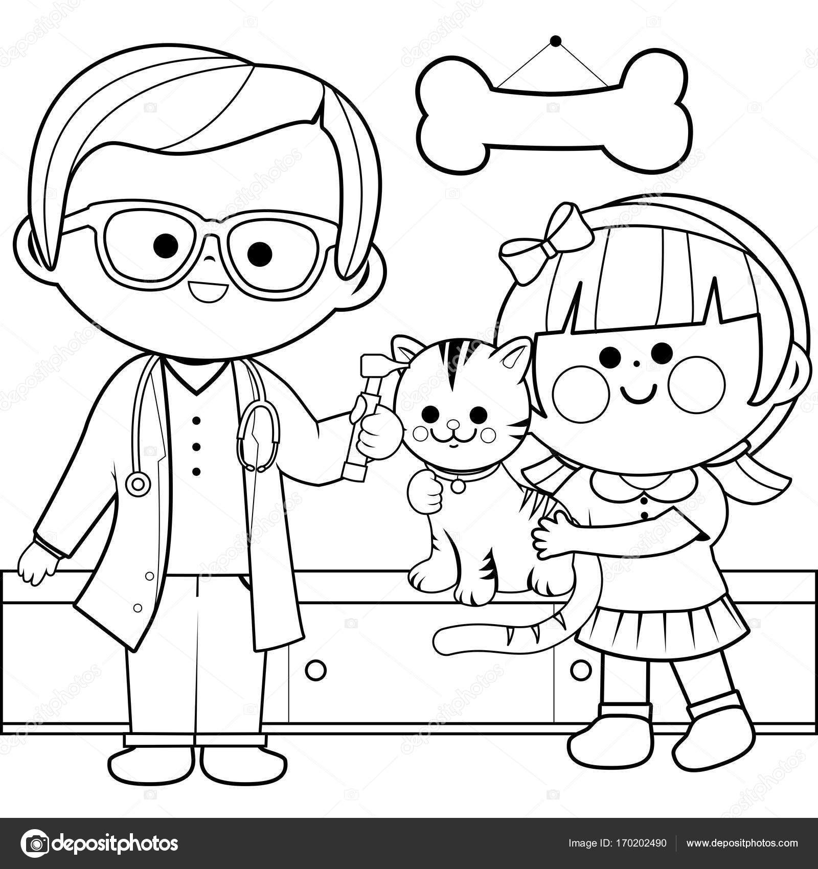 Uncategorized Veterinarian Coloring Pages veterinarian examining a cat coloring book page stock vector 170202490
